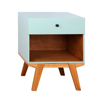 Amoroso 1 Drawer Nightstand Color: Aqua
