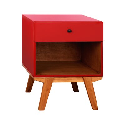 Amoroso 1 Drawer Nightstand Color: Red
