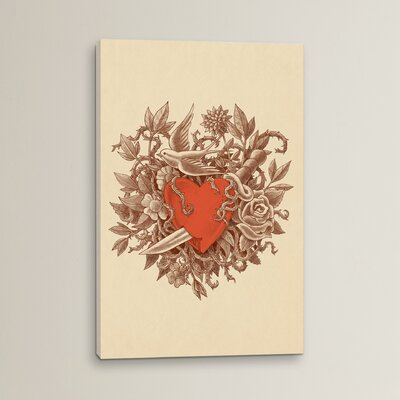 Heart Of Thorns Portrait by Terry Fan Graphic Art on Wrapped Canvas Size: 12