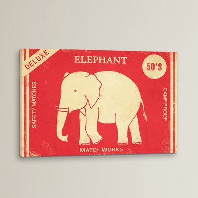 Elephant Safety Matches Vintage Advertisement on Wrapped Canvas Size: 12