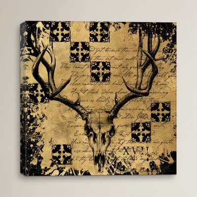 B&G Deer Skull Studio Graphic Art on Wrapped Canvas Size: 12