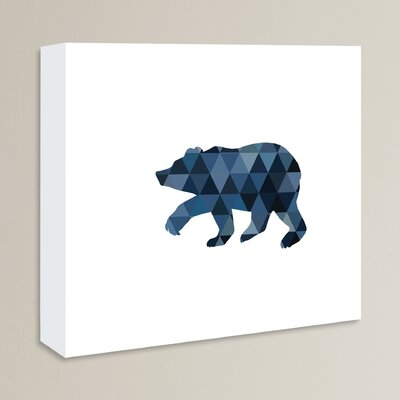 Beckett Navy Geo Bear Graphic Art on Wrapped Canvas