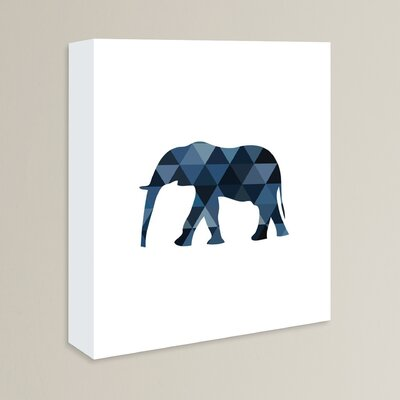 Beckett Navy Elephant Graphic Art on Wrapped Canvas Size: 14