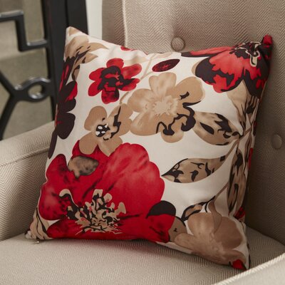 Piotrowski Flower Velvet Throw Pillow Color: Red