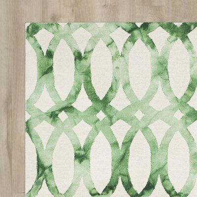 Kalista Ivory & Green Geometric Hand-Tufted Area Rug