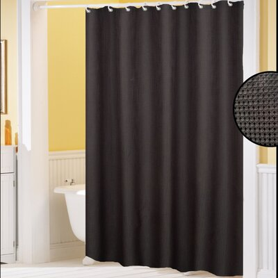Clybourne Waffle Weave Shower Curtain Color: Black