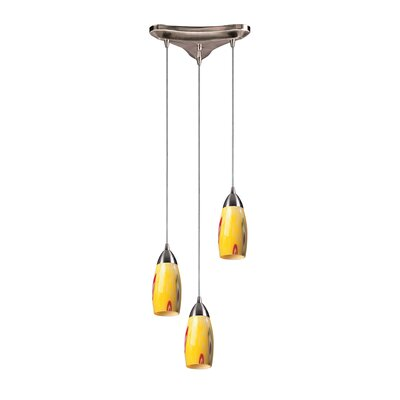 Bensenville 3-Light Cascade Pendant Glass Type: Yellow Blaze