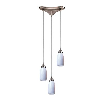 Bensenville 3-Light Cascade Pendant Glass Type: Simply White