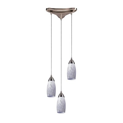 Bensenville 3-Light Cascade Pendant Glass Type: Snow White