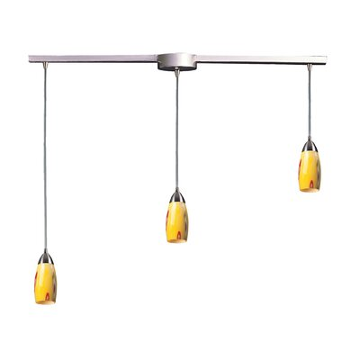 Bensenville 3-Light Kitchen Island Pendant Glass Type: Yellow Blaze
