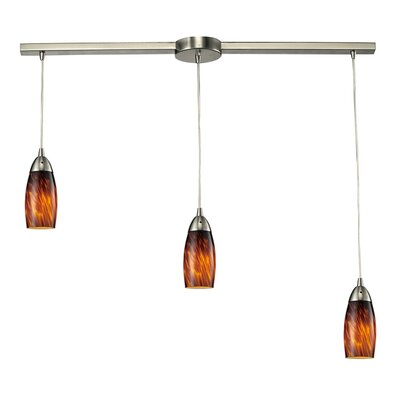 Bensenville 3-Light Kitchen Island Pendant Glass Type: Espresso