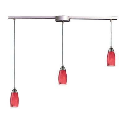 Bensenville 3-Light Kitchen Island Pendant Glass Type: Fire Red