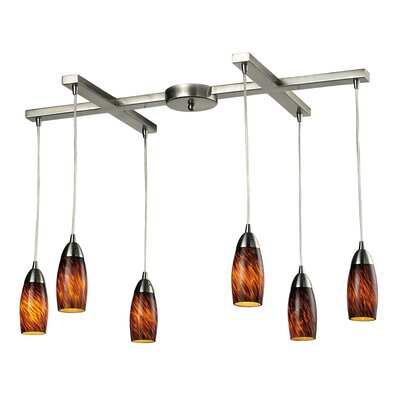 Bensenville 6-Light Kitchen Island Pendant Glass Type: Espresso
