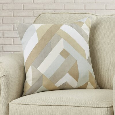 Wava 100% Cotton Throw Pillow Size: 18 H x 18 W x 4 D, Color: Beige, Filler: Polyester