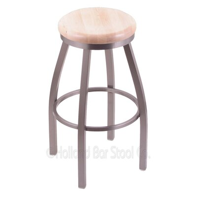 Cragin 30 Swivel Bar Stool Leg Finish: Stainless, Seat Finish: Natural Maple