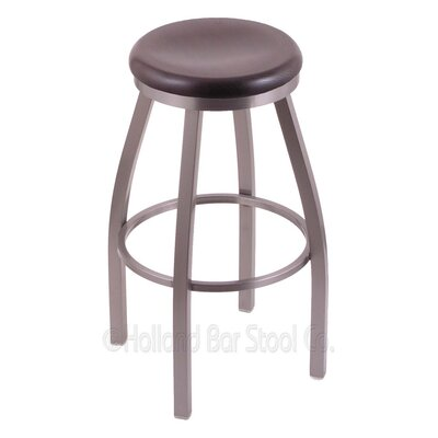 Cragin 30 Swivel Bar Stool Leg Finish: Stainless, Seat Finish: Dark Cherry Oak