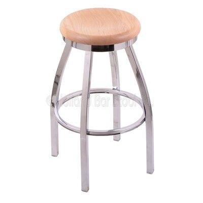 Cragin 25 inch Swivel Bar Stool Upholstery: Chrome, Upholstery: Medium Oak