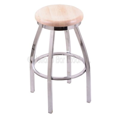Cragin 30 Swivel Bar Stool Leg Finish: Chrome, Seat Finish: Natural Maple