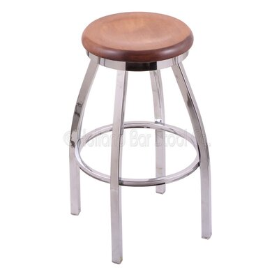 Cragin 30 Swivel Bar Stool Leg Finish: Chrome, Seat Finish: Medium Maple