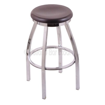 Cragin 36 Swivel Bar Stool Leg Finish: Chrome, Finish: Dark Cherry Oak