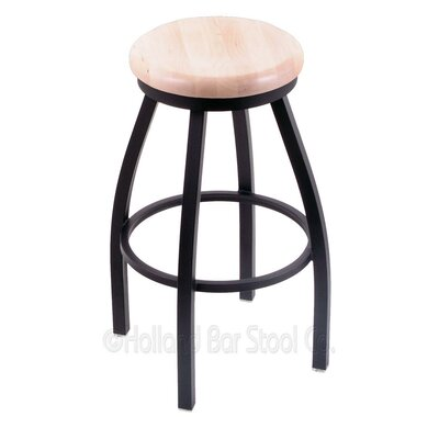 Cragin 36 Swivel Bar Stool Leg Finish: Black Wrinkle, Finish: Natural Maple