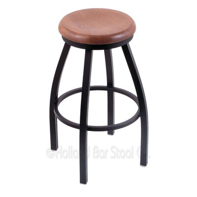 Cragin 30 Swivel Bar Stool Leg Finish: Black Wrinkle, Seat Finish: Medium Oak