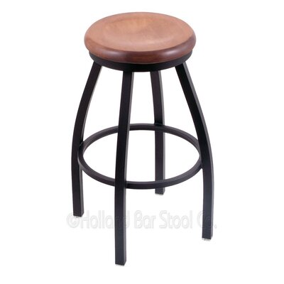 Cragin 30 Swivel Bar Stool Leg Finish: Black Wrinkle, Seat Finish: Medium Maple