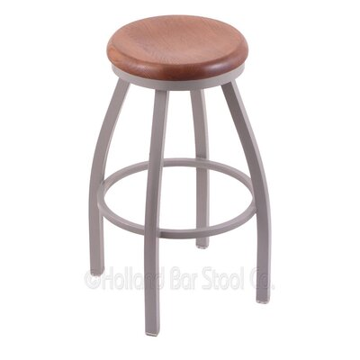 Cragin 30 Swivel Bar Stool Leg Finish: Anodized Nickel, Seat Finish: Medium Oak