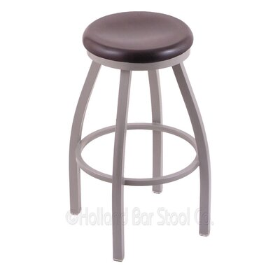 Cragin 30 Swivel Bar Stool Leg Finish: Anodized Nickel, Seat Finish: Dark Cherry Oak