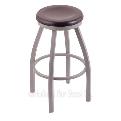 Cragin 30 Swivel Bar Stool Leg Finish: Anodized Nickel, Seat Finish: Dark Cherry Maple
