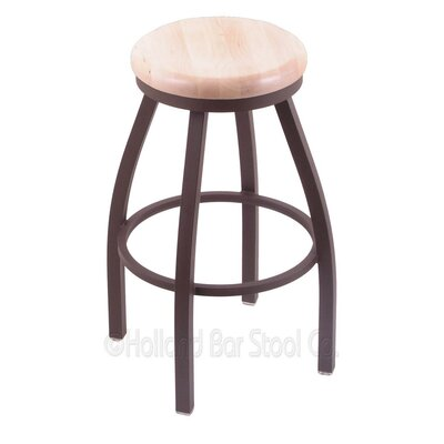 Cragin 30 Swivel Bar Stool Leg Finish: Bronze, Seat Finish: Natural Maple