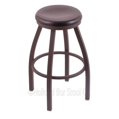 Cragin 30 Swivel Bar Stool Leg Finish: Bronze, Seat Finish: Dark Cherry Oak