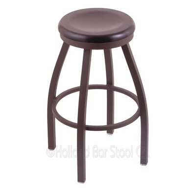 Cragin 30 Swivel Bar Stool Leg Finish: Bronze, Seat Finish: Dark Cherry Maple