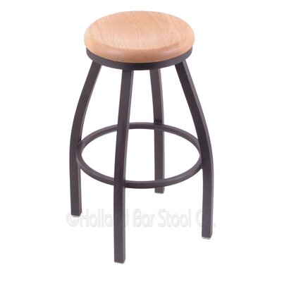 Cragin 25 Swivel Bar Stool Upholstery: Pewter, Upholstery: Medium Maple