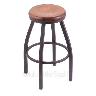 Cragin 30 Swivel Bar Stool Leg Finish: Pewter, Seat Finish: Medium Maple