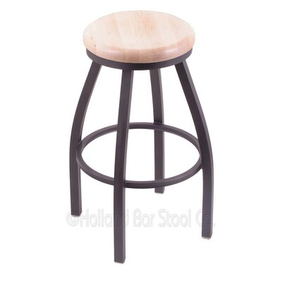 Cragin 30 Swivel Bar Stool Leg Finish: Pewter, Seat Finish: Natural Maple