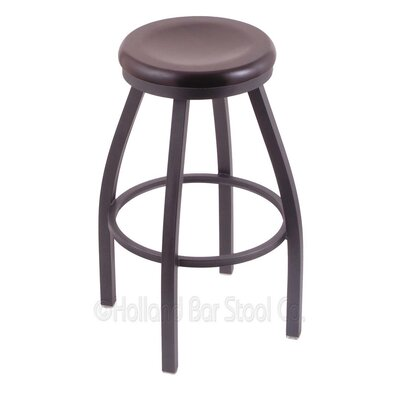 Cragin 30 Swivel Bar Stool Leg Finish: Pewter, Seat Finish: Dark Cherry Maple