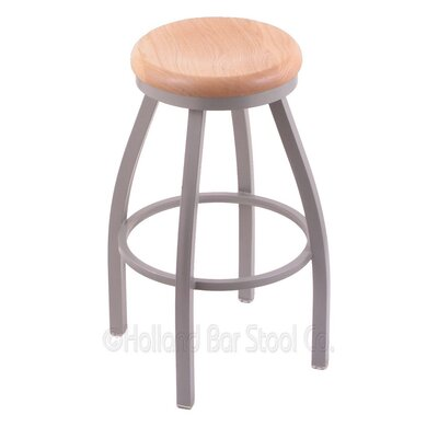 Cragin 30 inch Swivel Bar Stool Leg Finish: Black Wrinkle, Seat Finish: Natural Maple