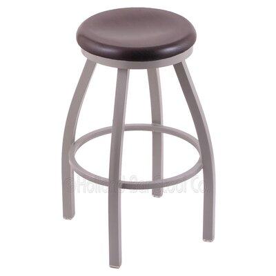Cragin 25 Swivel Bar Stool Upholstery: Dark Cherry Oak, Upholstery: Pewter