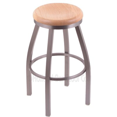 Cragin 30 inch Swivel Bar Stool Upholstery: Dark Cherry Maple, Upholstery: Stainless