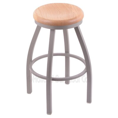 Cragin 30 inch Swivel Bar Stool Upholstery: Dark Cherry Oak, Upholstery: Anodized Nickel