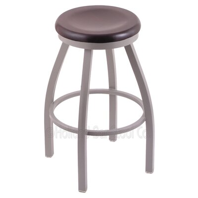Cragin 36 Swivel Bar Stool Upholstery: Dark Cherry Maple, Upholstery: Pewter