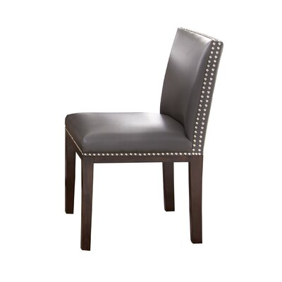 Tiffany Genuine Leather Upholstered Dining Chair (Set of 2) Side Chair Upholstery: Grey