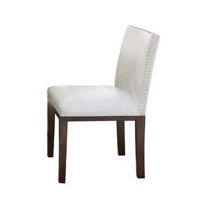 Tiffany Genuine Leather Upholstered Dining Chair (Set of 2) Side Chair Upholstery: White