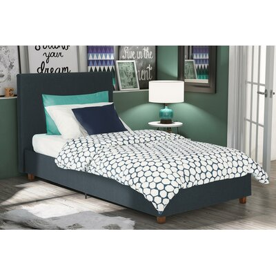 Evanston Twin Upholstered Platform Bed Color: Dark Blue