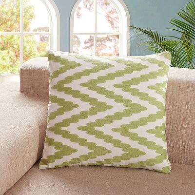 Tamworth Embroidered Chevron Dot Cotton Throw Pillow Color: Green
