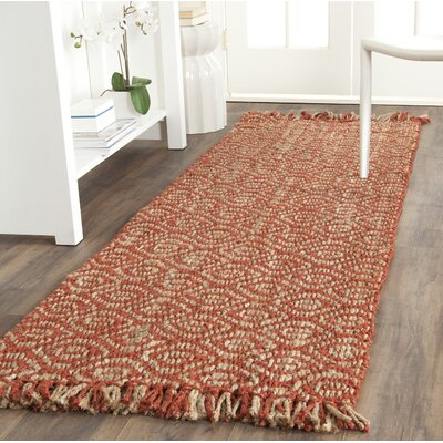 Mcelwain Hand-woven Rust Area Rug Rug Size: Runner 26 x 8