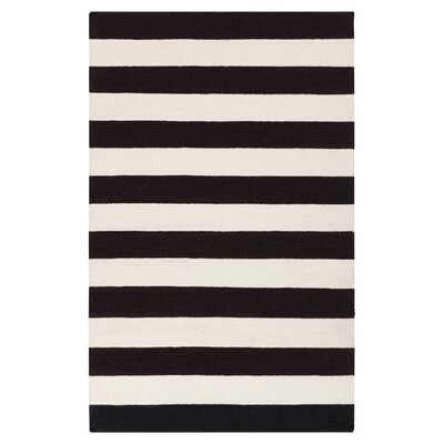 Ritner Hand-Woven Black/White Area Rug Rug Size: Rectangle 36 x 56