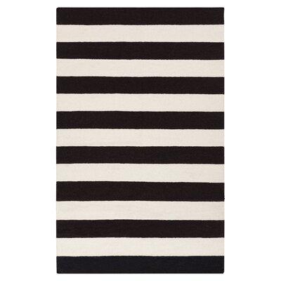 Ritner Hand-Woven Black/White Area Rug Rug Size: 8 x 11