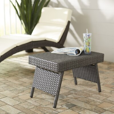 Ellington Circle Outdoor Foldable Wicker Side Table Color: Gray